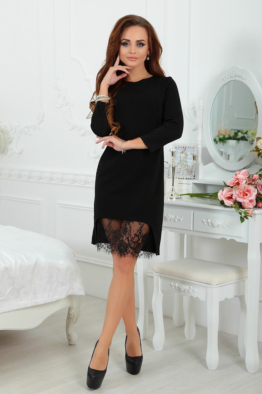 Черное трикотажное Платье с кружевом  продажа, цена в Одессе. платья ... 74667653248