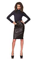 Женская юбка - карандаш с кокеткой опт. Модель Ю050_черный кожа., фото 1