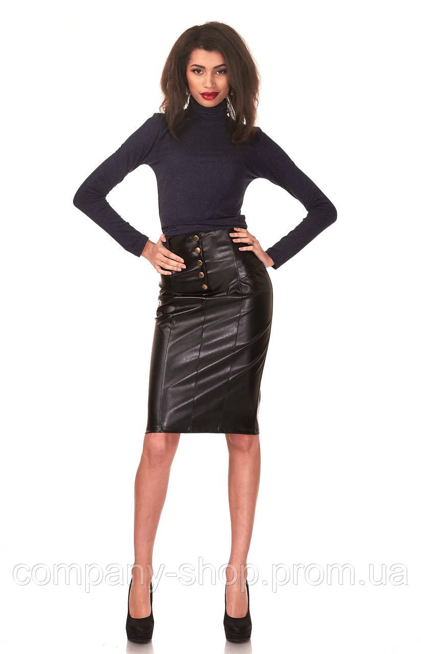 Женская юбка - карандаш с кокеткой опт. Модель Ю050_черный кожа.