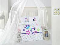 Постельное белье в детскую кроватку 100*150 Птичка девочка TM Clasy