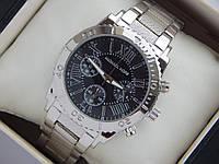 Серебряные часы Michael Kors с римскими цифрами, черный циферблат, безель, рифленый браслет, фото 1