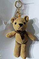 127 Вязаные брелки медведи 25 см для сумок и ключей. Брелоки оптом