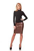 Женская юбка - карандаш с четырьмя молниями. Модель Ю053_коричневый кожа., фото 1