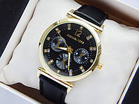 Женские часы Michael Kors на кожаном ремешке, черный циферблат с стразами
