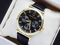 Женские часы Michael Kors на кожаном ремешке, черный циферблат с стразами, фото 1