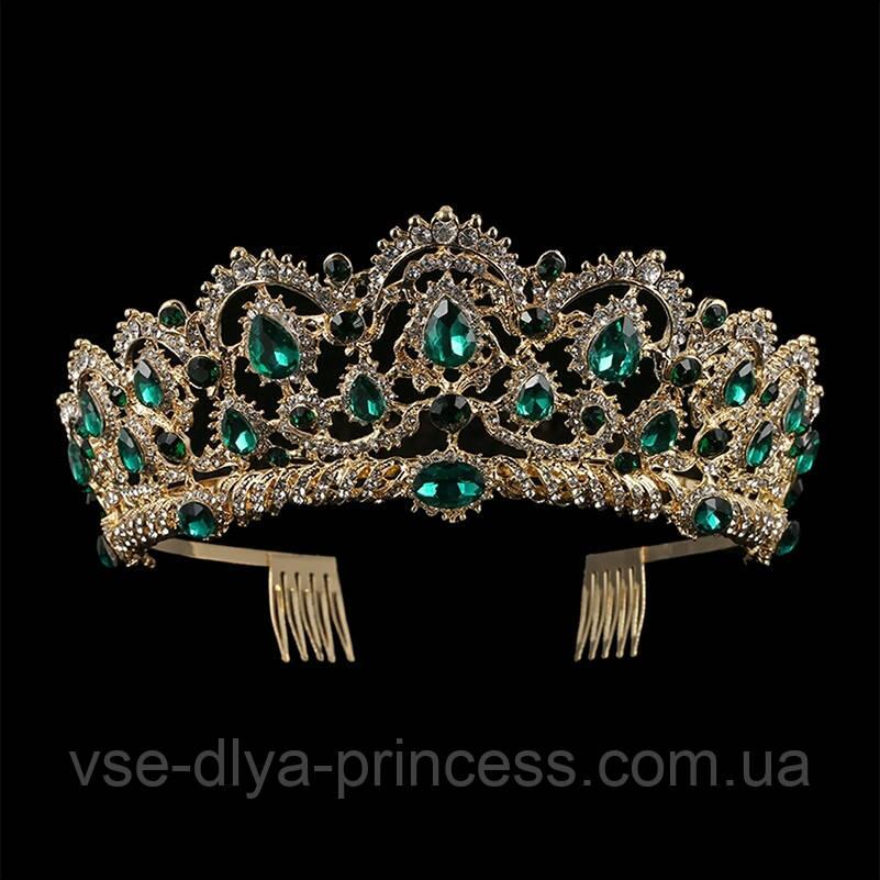 Корона, диадема, тиара под золото с зелеными камнями, высота 6,5 см.