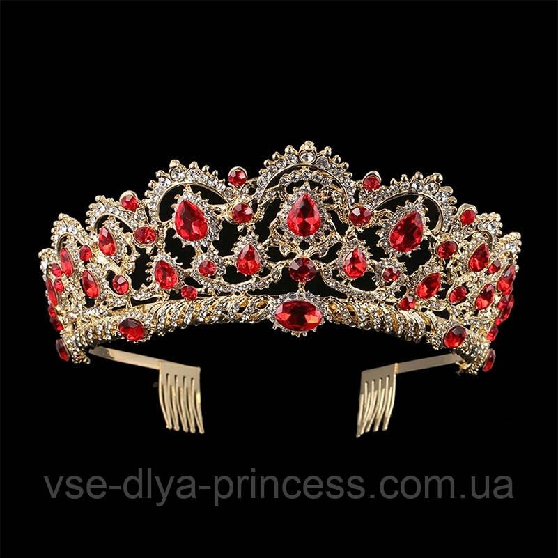 Корона під золото з червоними камінцями, висота 6,5 див. Біжутерія для конкурсу