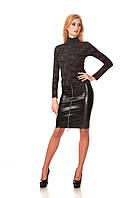 Женская юбка - карандаш с четырьмя молниями. Модель Ю053_черный кожа., фото 1