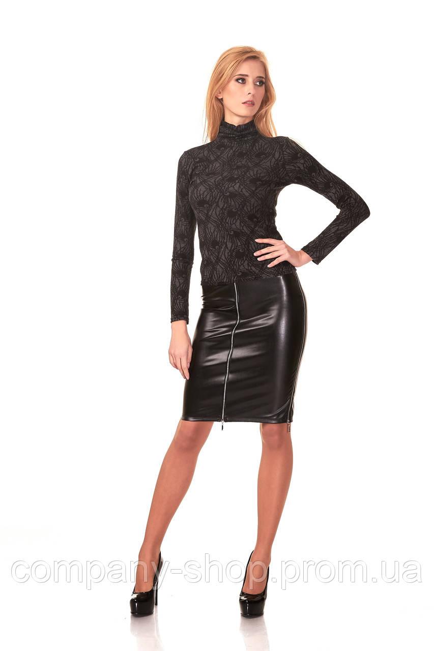Женская юбка - карандаш с четырьмя молниями. Модель Ю053_черный кожа.