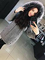 """Зимнее женское  пальто  """"Грейс"""", серый"""