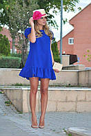 Платье короткое с оборкой по низу и коротким рукавом
