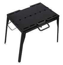 Мангал раскладной Mousson PROMETEO Q 6 VВ из черной вороненной стали 2 мм, на 6 шампуров, в сумкой 6417