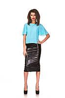 Женская зауженная удлиненная юбка с перекрестными швами. Модель Ю064_черный кожа., фото 1