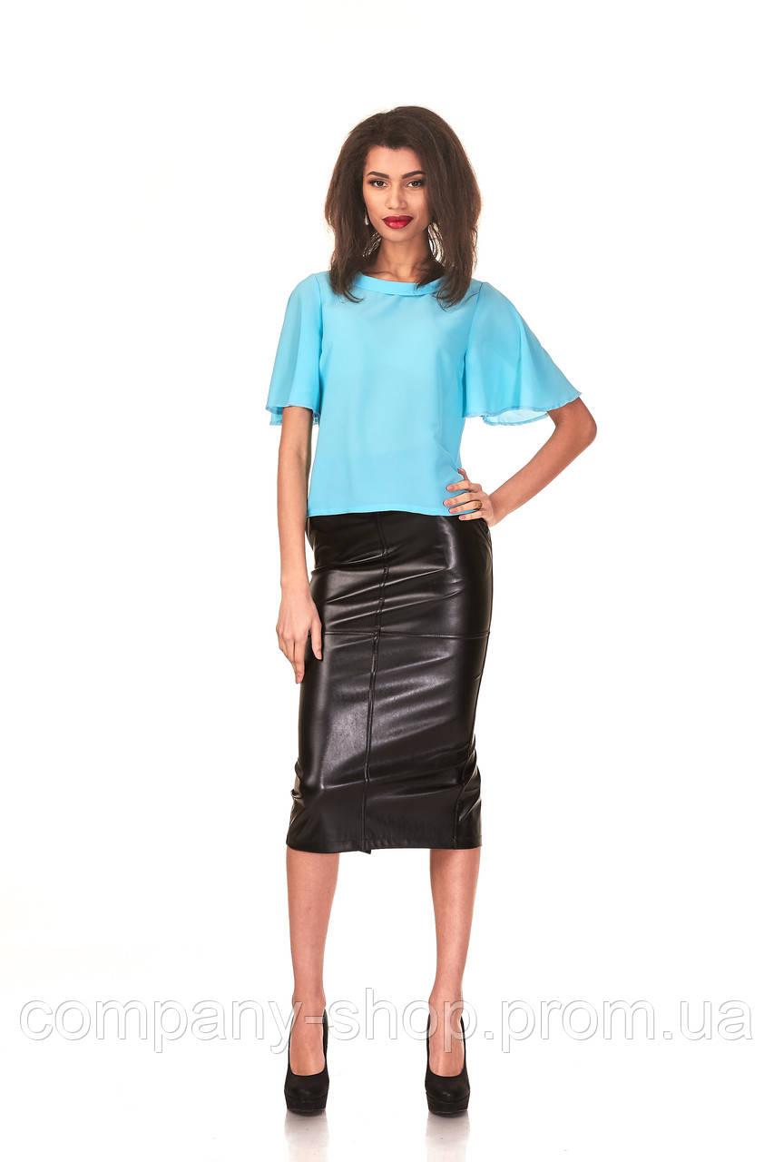 Женская зауженная удлиненная юбка с перекрестными швами. Модель Ю064_черный кожа.