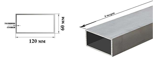 Алюминиевая труба прямоугольного сечения 120х60 мм