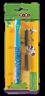 Ручка перьевая (открытое перо) + 2 капсулы, голубой корпус с рисунками, картонный блистер, KIDS Lin (ZB.2242)