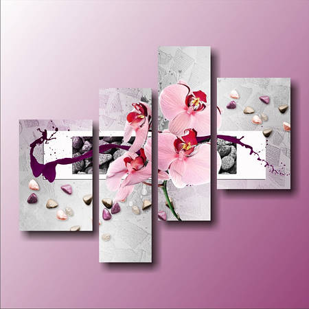 """Модульная картина """"Орхидея и цветные камни"""""""