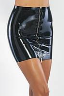 Мини юбка из латекса с металлической молнией спереди