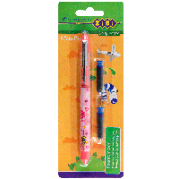Ручка перьевая (закрытое перо) + 2 капсулы, розовый корпус с рисунками, картонный блистер, KIDS Lin (ZB.2250)
