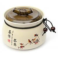 Банка с крышкой керамическая для чая