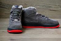 Зимние мужские кроссовки Air Force 1 High Suede Grey Fur