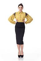 Женская удлиненная юбка-карандаш черная. Модель Ю065_черный креп., фото 1