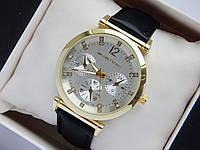 Женские наручные часы Michael Kors на кожаном ремешке, золотой корпус, серебряный циферблат, MK-610, фото 1
