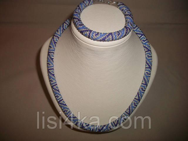 Вязаный комплект жгутов из бисера с геометрическим рисунком серебристо-голубой