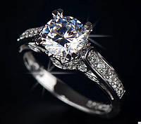 Кольцо с сверкающим цирконом, размер 7 USA