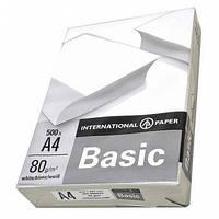 Бумага А4, Basic, 80 г/м2, 500 листов/упаковка, International Paper, 707530