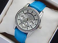 Женские наручные часы Michael Kors с голубым  ремешком, серебряный корпус, MK-619
