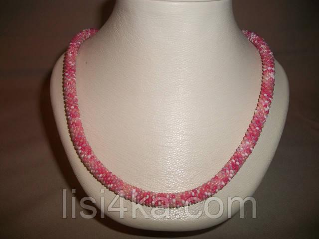 Вязаный из розового микса бисера повседневный жгут