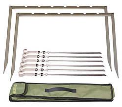 Мангал-рамка походный Mousson RINO 6 IBS из нержавеющей стали 1,5 мм, на 6 шампуров, 6433