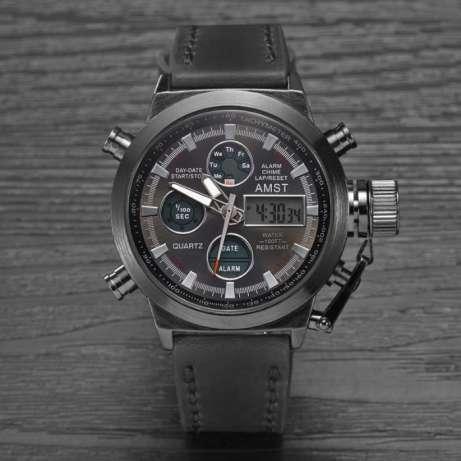 Наручные мужские армейские часы Amst Watch 3003 (черные)