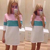Платье с горизонтальными полосами разные цвета