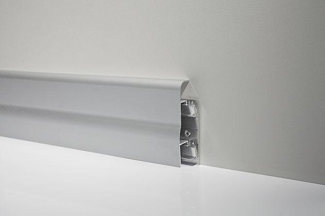 Металлический плинтус Profilpas Metal Line 96/7 анодированный алюминий, серебро 18*70*2000 мм.