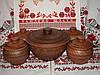 Глиняный набор супник и 4 горшочка