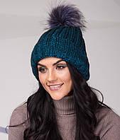 Топовая женская шапка из крупной вязки с помпоном - Артикул top-1-1 (бирюза)