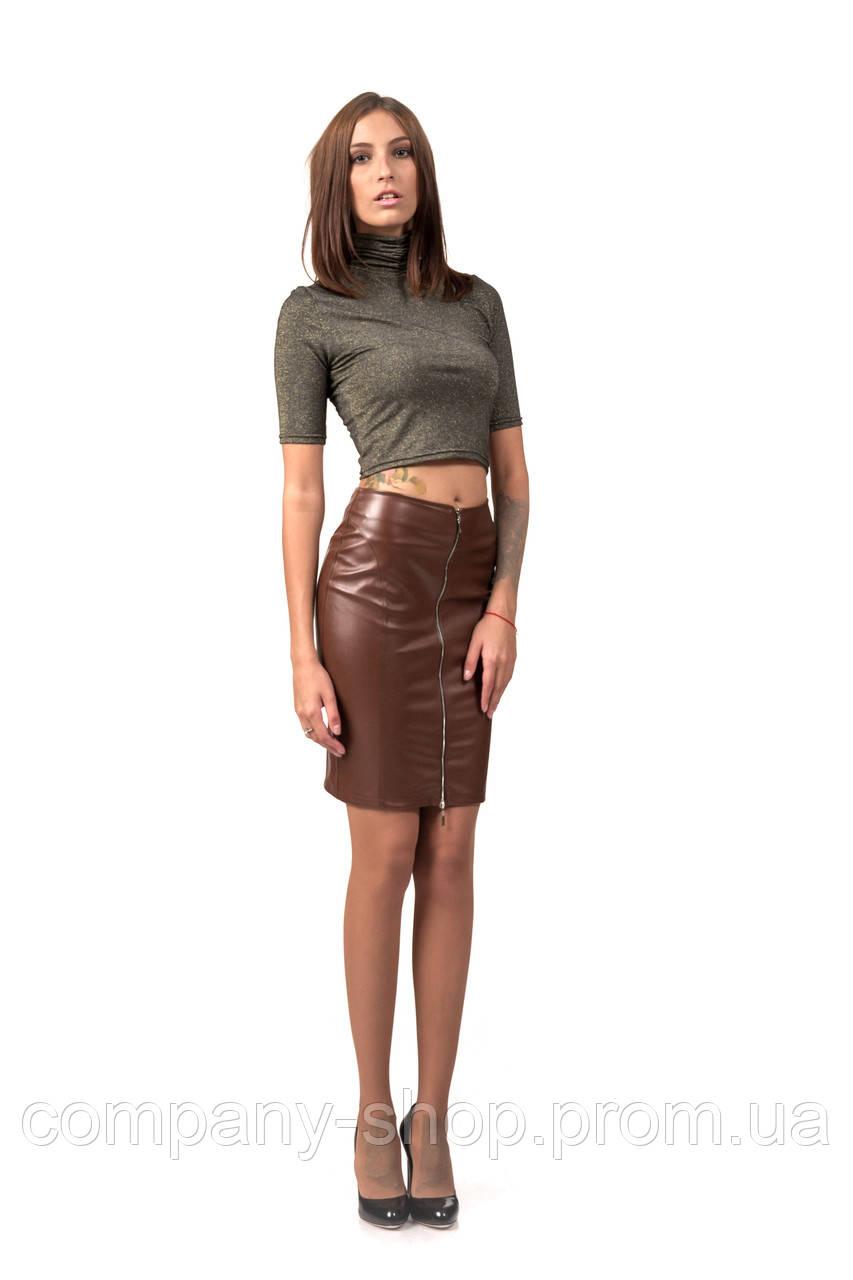 Юбка женская на молнии из кожи. Модель Ю085_коричневый кожа.
