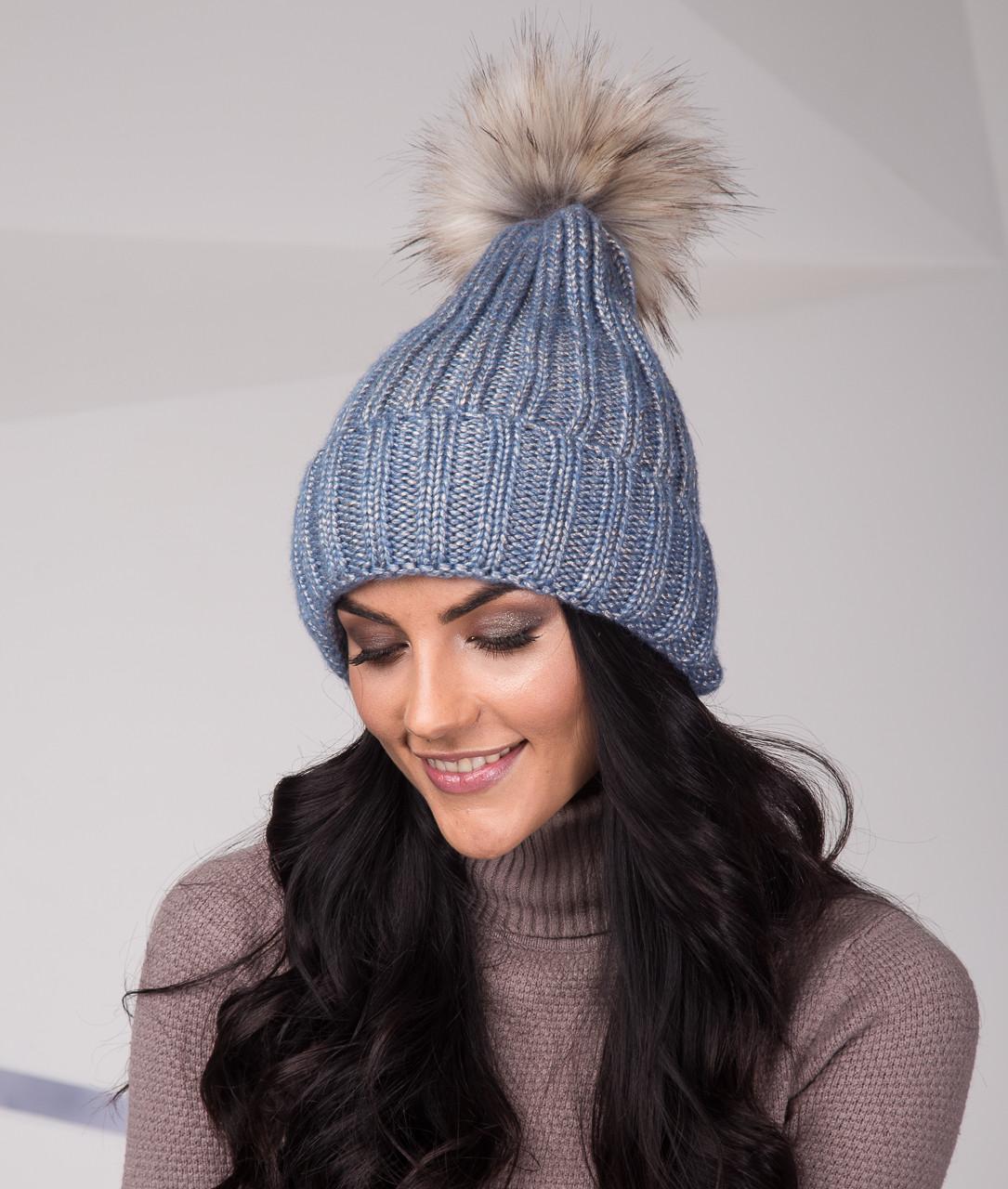 Топовая женская шапка из крупной вязки с помпоном - Артикул top-1-2 (голубой)