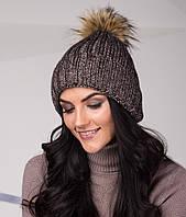 Топовая женская шапка из крупной вязки с помпоном - Артикул top-1-3 (кофе)