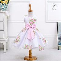 """Вечернее платье для девочек """"Белла"""". С розовым принтом."""