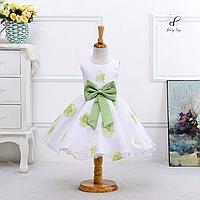 """Вечернее платье для девочек """"Белла"""". С зеленым принтом."""