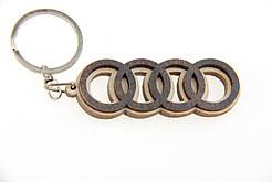 Брелок для ключей деревянный с резным логотипом Audi (Ауди)