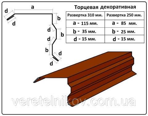 Планка торцевая декоративная - 250 мм (2 м)