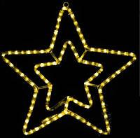Мотив внешний DELUX Звезда 54см белая, синяя, желтая