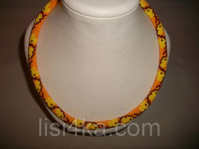 Вязаный из бисера узорный жгут желто-оранжевый
