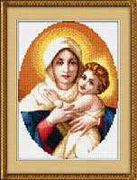 "023L Набор для рисования камнями(холст)""Мадонна с младенцем""LasKo"