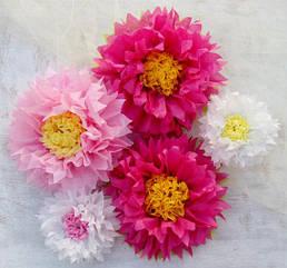 Бумажные цветы из тишью 25 см. разные цвета