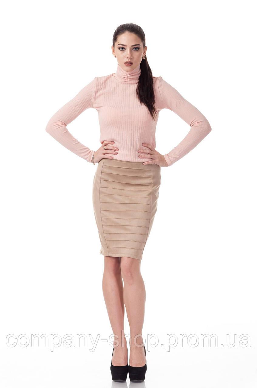 Женская замшевая юбка с драпировкой. Модель Ю090_бежевый замш.